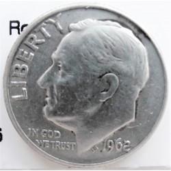 Usa 1 Dime. 1962. D-(Denver). AG. 2,5gr. Ley:0,900. (Tipo Roosevelt). Ø18mm. MBC+/EBC-. KM. 195