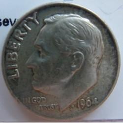 Usa 1 Dime. 1964. Filadelfia. AG. 2,5gr. Ley:0,900. (Roosevelt). Ø18mm. EBC+. KM. 195
