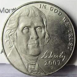 Usa 5 Ctvo. 2007. P-(Filadelfia). CUNI. 5gr. (Monticello). Ø21,2mm. MBC. KM. A192