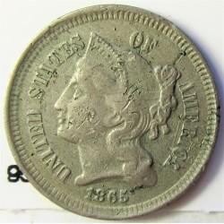 Usa 3 Cent. 1865. CUNI. 1,94gr. Ø17,9mm. MBC-/MBC+. (Marquitas anv.). KM. 95
