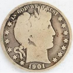 Usa ½ Dolar. 1901. O-(Nw.Orleans). AG. 12,5gr. Ley:0,900. Ø30mm. MC+. MUY ESCASO/A. KM. 116