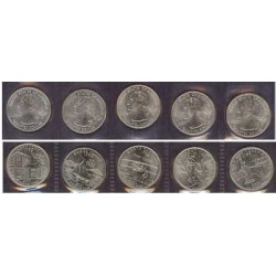 Usa Serie. 2001. P-(Fildelfia). CUNI. 5,67gr. (5x1/4 $-N.York/N.Carolina/Rd.Island/Vermont/Kentucky). Ø24mm. SC. KM. 319 a 322