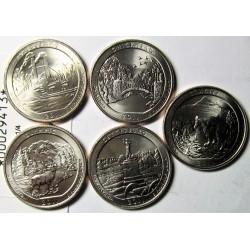 "Usa Serie. 2011. (""Parques Nacionales""). P-(Filadelfia). CUNI. 5,67gr. (5 de 1/4 $-Chickasaw,Gettysburg,Glacier,Olympics,Vicksbu"