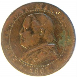Vaticano 1  Soldo. 1867. R-(Roma). CU. 4,79gr. (Año XXI). Ø26mm. MBC-. KM. 1372.2