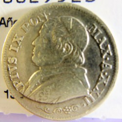Vaticano 10  Soldi. 1867. R-(Roma). AG. 2,5gr. Ley:0,835. (Año XXII). Ø18mm. MBC/MBC+. KM. 1376