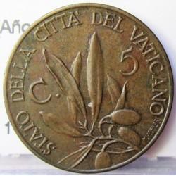 Vaticano 5  Cts.  1934. R-(Roma). AE. 5,4gr. (Año XIII). Ø20mm. SC-/SC. (Patina oscura). KM. 1