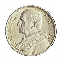 Vaticano 10  Lira. 1935. AG. 10gr. Ley:0,835. (Año XIV). Ø27mm. SC-. (Lev.patina). KM. 8