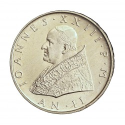 Vaticano 500  Lira. 1960. AG. 11gr. Ley:0,835. (Año II). Ø29mm. SC. KM. 65.2