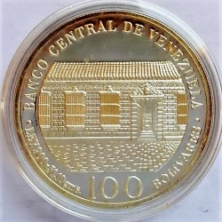 Venezuela 100 Bolivares. 1983. AG. 31gr. Ley:0,900. (200º Anº.S.Bolivar). Ø34mm. PRF. KM. 58