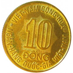 Vietnam.-Rep.de 10 Dong. 1974. BRASS. 4,48gr. (Cosechando arroz). Ø24mm. SC-. KM. 13
