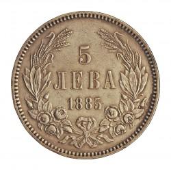 Bulgaria 5  Leva. 1885. AG. 25gr. Ley:0,900. Ø37mm. MBC+/EBC-. ESCASO/A. KM. 7