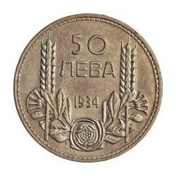 Bulgaria 50 Leva. 1934. AG. 10gr. Ley:0,500. Ø27mm. EBC+. KM. 44