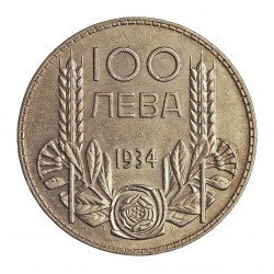 Bulgaria 100  Leva. 1934. AG. 20gr. Ley:0,500. Ø34mm. SC-. KM. 45