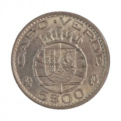 Cabo Verde 5  Escudos. 1968. CUNI. 4gr. Ø21mm. SC-/SC. KM. 12