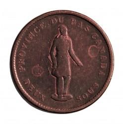 Canada 2 Sou/s. 1837. (Penny)-(Bank Token). QUEBEC. CU. 18,34gr. Anv: Figura estante. Ley.:Province du Bas Canada/Deux Sols. Re