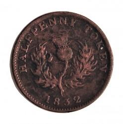 Canada ½ Penny. 1832. (NUEVA ESCOCIA). CU. 8,5gr. (Token). Ø28mm. MBC-/MBC. MUY ESCASO/A. KM. 1