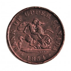 Canada ½ Penny. 1854. (Bank Token). UPPER CANADA. CU. 7,66gr. Anv: Anagrama del Banco. Ley.:Bank Token/One.Half.Penny. Rev: San