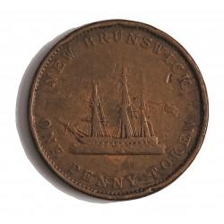 Canada 1 Penny. 1843. (NEW BRUNSWICK). CU. 17gr. (Penny Token). Ø34mm. BC+. (Patina). KM. 2