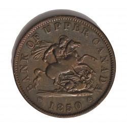 Canada 1 Penny. 1850. (Bank Token). UPPER CANADA. CU. 15,53gr. Anv: Anagrama del Banco. Ley.:Bank Token/*One.Penny*. Rev: San J