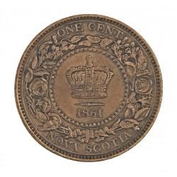 Canada 1 Cent. 1861. (NUEVA ESCOCIA). CU. 5,8gr. Ø20mm. MBC+/EBC. (Patina). KM. 8.2
