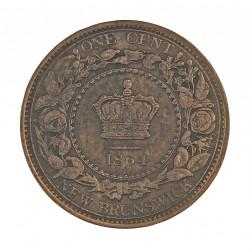 Canada 1 Cent. 1864. (NEW BRUNSWICK). AE. 5,6gr. (6 corto). Ø25mm. MBC/MBC+. (Patina.Pños.puntos de oxid.). KM. 6
