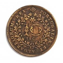 Azores 10 Reis. 1865. CU. 6,5gr. (Luis I). Ø30mm. MBC/MBC+. (Limpiada). KM. 14