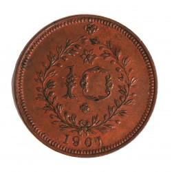 Azores 10 Reis. 1901. CU. 10gr. (Carlos I). Ø30mm. EBC+/SC-. (Patina). KM. 17