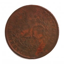 Azores 20 Reis. 1865. CU. 12gr. (Luis I). Ø35mm. BC+/MBC-. (Patina). KM. 15