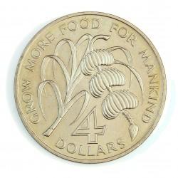 Barbados 4 Dolar. 1970. NI. 28,11gr. (Desarrollo del Caribe). (Lucha contra el hambre-FAO). Ø38mm. SC. MUY ESCASO/A. KM. A9