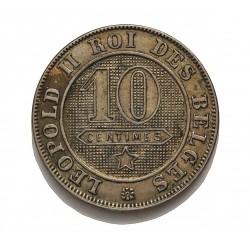 Belgica 10  Cts.  1901. CUNI. 4,5gr. (Des Belgues). Ø21mm. MBC+/EBC-. MUY RARO/A. KM. 42
