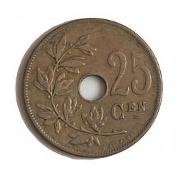 Belgica 25  Cts.  1910. CUNI. 6,34gr. (Belguie). Ø26mm. MBC+. KM. 69