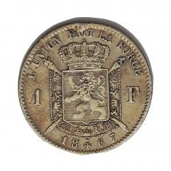 Belgica 1  Francos. 1867. AG. 5gr. Ley:0,835. (Des Belges). Ø23mm. MBC-/MBC. KM. 28.1