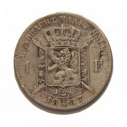 Belgica 1  Francos. 1887. AG. 5gr. Ley:0,835. (Der Belgen). Ø23mm. MBC-/MBC. KM. 29.1