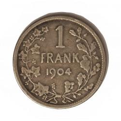 Belgica 1  Francos. 1904. AG. 5gr. Ley:0,835. (Der Betgen). Ø23mm. BC-/MBC-. KM. 57.1