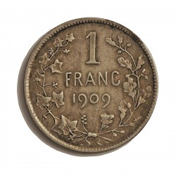 Belgica 1  Francos. 1909. AG. 5gr. Ley:0,835. (Des Belges). Ø23mm. BC+/MBC-. KM. 56.1