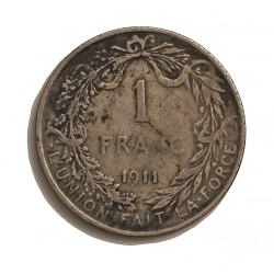 Belgica 1  Francos. 1911. AG. 5gr. Ley:0,835. (Des Belges). Ø22mm. MBC-. KM. 72.1