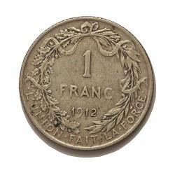 Belgica 1  Francos. 1912. AG. 5gr. Ley:0,835. (Des Belges). Ø22mm. MBC. KM. 72.1