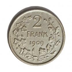 Belgica 2  Francos. 1909. AG. 10gr. Ley:0,835. (Der Belgen). Ø27mm. MBC+/EBC-. KM. 59