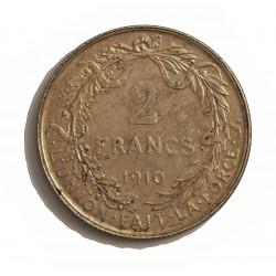 Belgica 2  Francos. 1910. AG. 10gr. Ley:0,835. (Des Belges). Ø27mm. MBC+. KM. 74