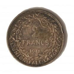 Belgica 2  Francos. 1911. AG. 10gr. Ley:0,835. (Des Belges). Ø27mm. MBC+. (Gpcto.cto.). KM. 74