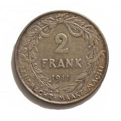 Belgica 2  Francos. 1911. AG. 10gr. Ley:0,835. (Der Belgen). Ø27mm. MBC+. KM. 75