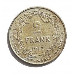 Belgica 2  Francos. 1912. AG. 10gr. Ley:0,835. (Der Belgen). Ø27mm. EBC/EBC+. KM. 75