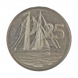 Cayman.-Islas 25 Cts. 1982. FM. CUNI. 5,64gr. (Velero Schooner). Ø24mm. PRF. KM. 4