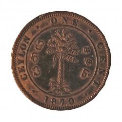 Ceylan 1  Cent. 1870. CU. 4,9gr. (Victoria). Ø22mm. MBC/MBC+. KM. 92