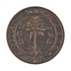 Ceylan 1  Cent. 1922. CU. 4,65gr. (Eduardo VII). Ø22mm. SC-/SC. (Patina). KM. 107