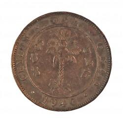 Ceylan 1  Cent. 1940. CU. 4,64gr. (George VI). Ø22mm. BC+. KM. 111
