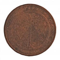 Ceylan 5  Cent. 1870. CU. 19gr. (Victoria). Ø34mm. MBC-. KM. 93