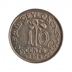 Ceylan 10  Cent. 1908. AG. 1,166gr. Ley:0,980. (Eduardo VII). Ø15mm. EBC+/SC-. KM. 97