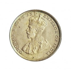 Ceylan 10  Cent. 1919. AG. 1,167gr. Ley:0,550. (George V). Ø15mm. SC-/SC. (Tono original). KM. 104 a