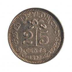 Ceylan 25  Cts.  1895. AG. 2,92gr. Ley:0,800. (Victoria). Ø18mm. EBC/EBC+. KM. 95